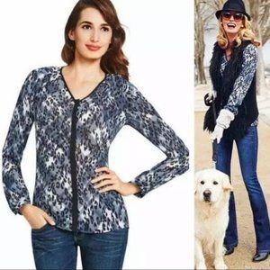 CABI Fatale Leopard Navy Button Down Blouse Small